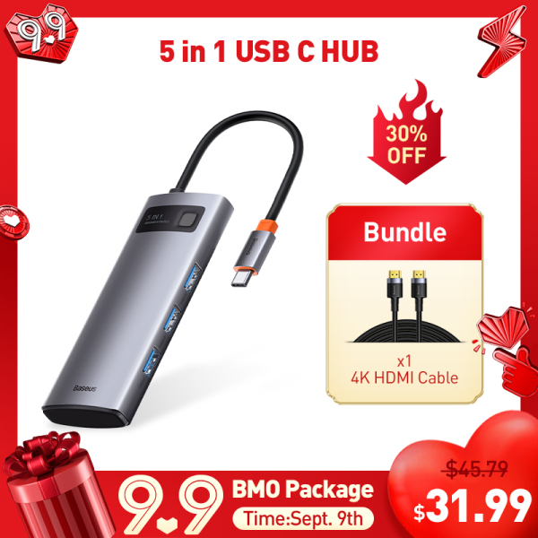 【LAZADA Exclusive Bundle Deals】[With A 4K HDMI Cable] Baseus USB C HUB Type C to HDMI-compatible USB 3.0 Adapter 5 in 1 Type C HUB Dock for MacBook Pro Air Notebook USB C Splitter