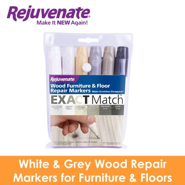 REJUVENATE White & Grey Wood Repair Markers for Furniture & Floors - 6-PK RJ-6WGWM