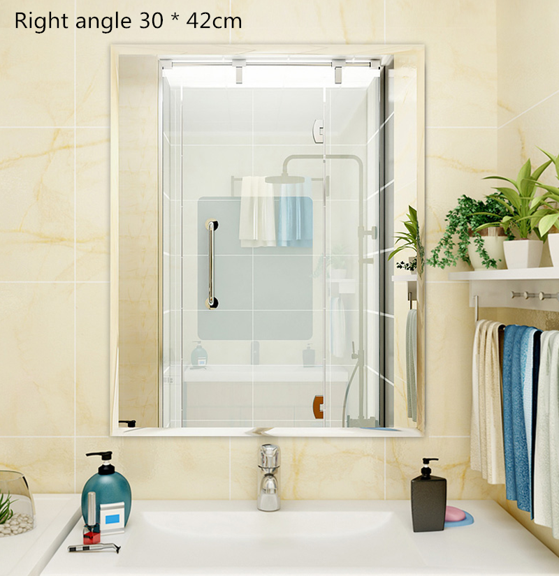 Bathroom Mirror Wall Stickers Free Punching Bathroom Self-adhesive Bathroom Mirror Toilet Bathroom Glass Mirror Wall Mounted Mirror