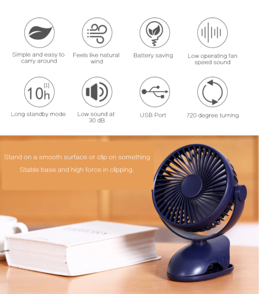 Portable Mini USB Fan Wireless Rechargeable Rotatable Clip Table Desk Outdoor Office Home