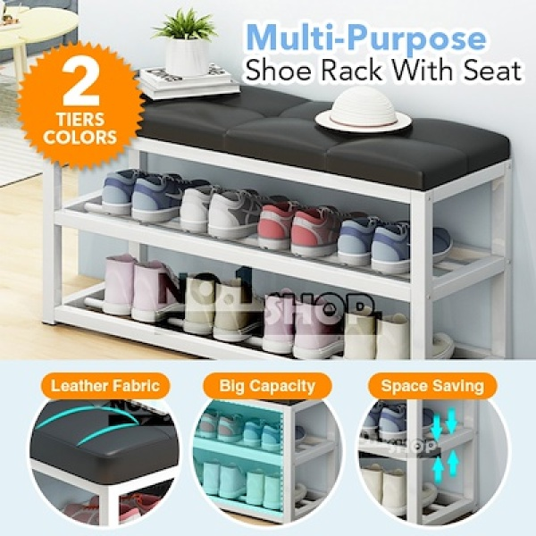 Multi-purpose Shoe Rack Bench with Faux Leather Seat / 60cmx45cmx30cm / Used as Entryway allway