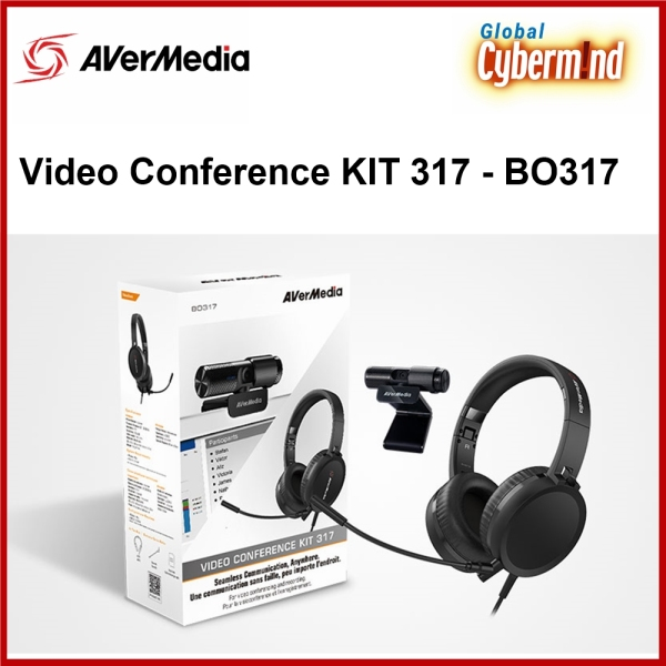 AVerMedia VIDEO CONFERENCE KIT 317   BO317 - USB FULL HD Webcam and Headphone with microphone for web conference (Brought to you by Global Cybermind)