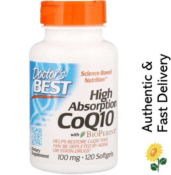 Buy [SG] Doctors Best, High Absorption CoQ10 with BioPerine, 100 mg, 120 Softgels [Heart & Brain Supplement] Singapore