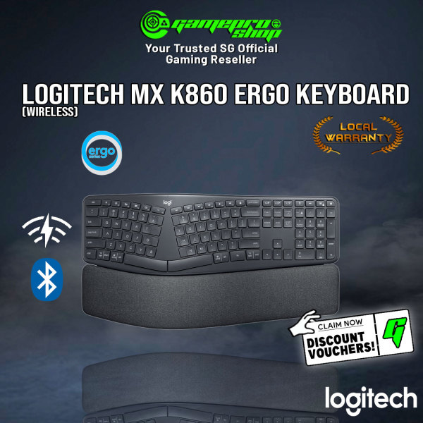 Logitech MX Ergo K860 Bluetooth Wireless Ergonomic Keyboard with Wrist Rest - For Windows/Mac -920-010111 (2Y) Singapore