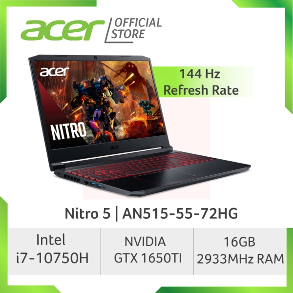 [LATEST ] Acer Nitro 5 AN515-55-72HG 144Hz Refresh Rate Gaming laptop with 10th Gen Intel Core i7-10750H Processor and NVIDIA GeForce GTX 1650TI Graphic