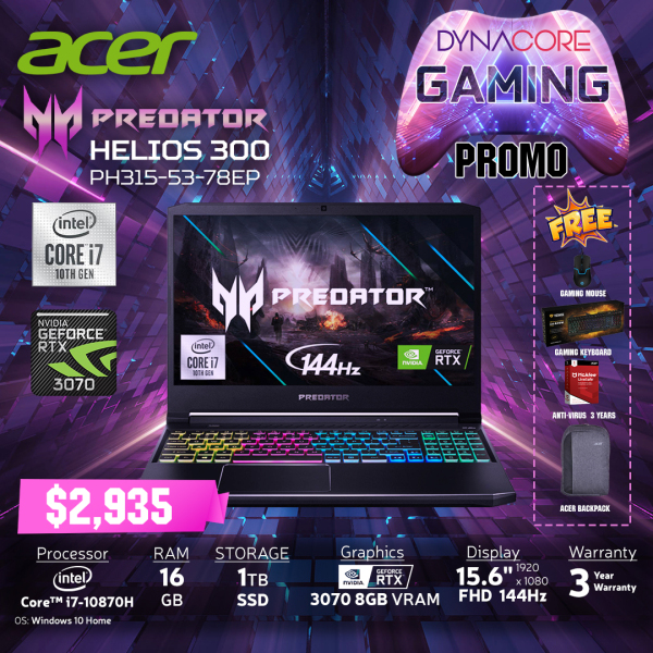 DYNACORE - ACER Predator Helios 300 PH315-53-78EP NH.QATSG.001 i7-10870H | 16GB | 1TB M.2 NVMe SSD | NVIDIA GeForce RTX-3070 MQ 8GB | 15.6 FHD 144HZ-72%