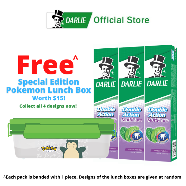 Buy Darlie Double Action MultiCare 180g Fluoride Toothpaste with  Pokemon Lunchbox worth SGD15 (Bundle of 3) Singapore