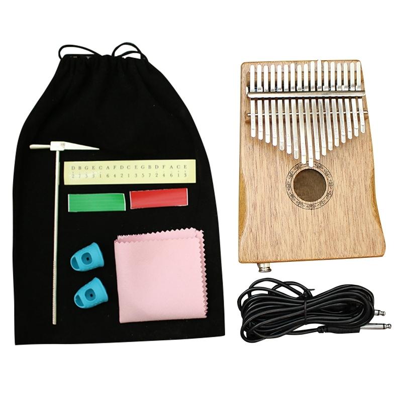 17 Key Kalimba African Mahogany EQ Thumb Finger Piano Sanza Mbira Calimba Play with Guitar Wood Musical Instruments