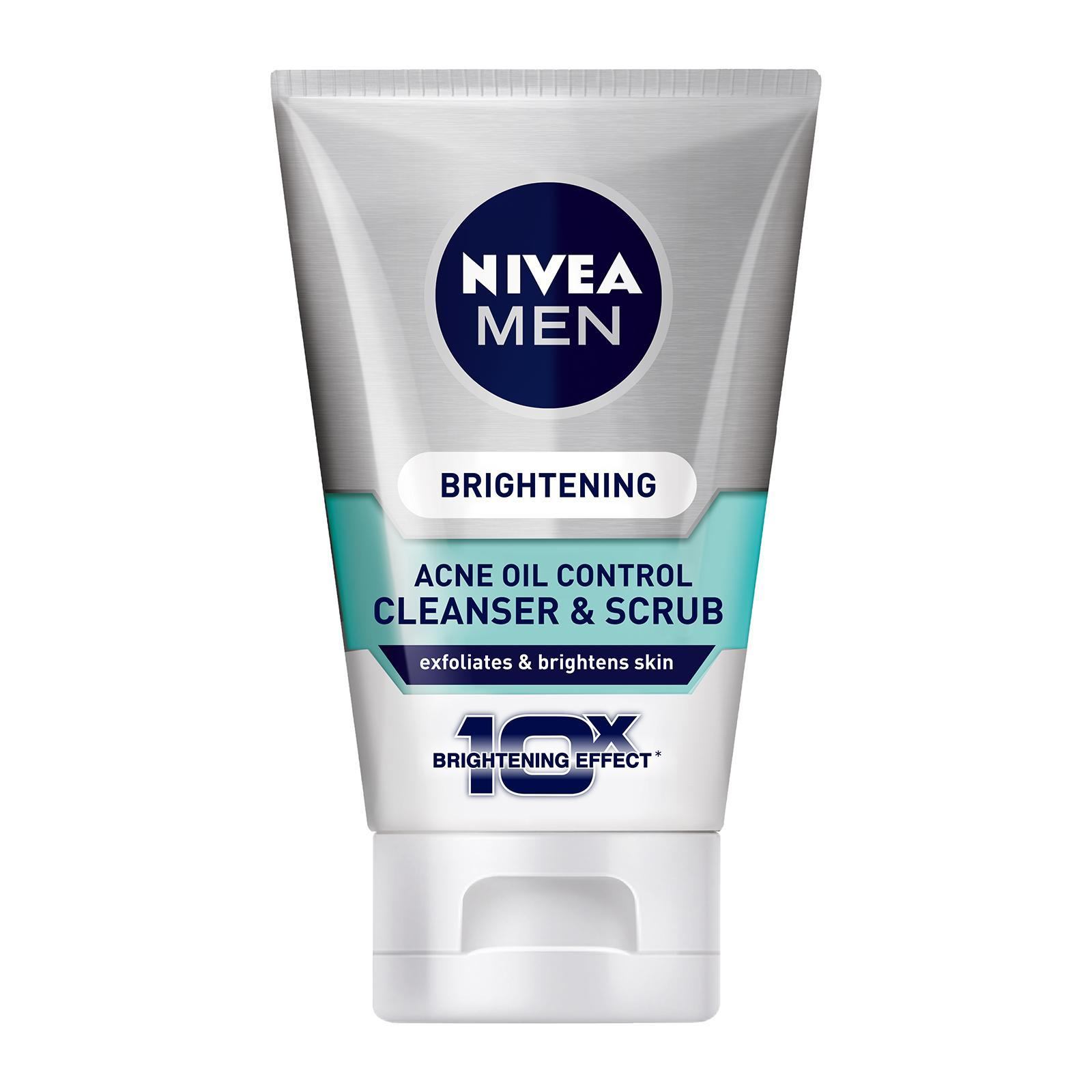 Nivea Men Face Care Cleanser Brightening Acne Oil Control Cleanser And Scrub Travel Size