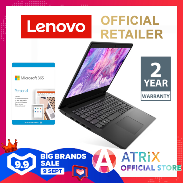 【Express Delivery】LENOVO IdeaPad SLIM 3 14ADA05 (81W000DFSB) | 2Yrs Warranty | Free Office365 | 14inch FHD | AMD 3020e Dual Core 2.6Ghz) | 4GB RAM | 128GB SSD | Win10 home | 2 Yr Lenovo Warranty | S145
