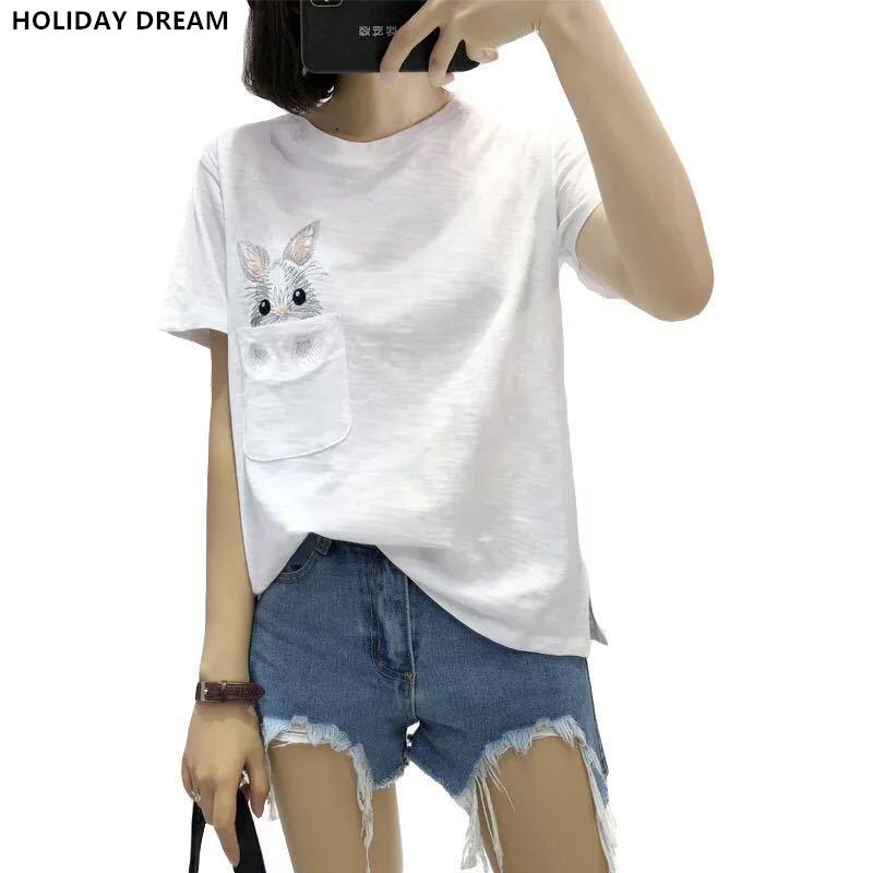 5af4e3c00bd Summer T-shirt Women Lady Top Cotton Female T-shirt Clothing Printed Pocket  Rabbit