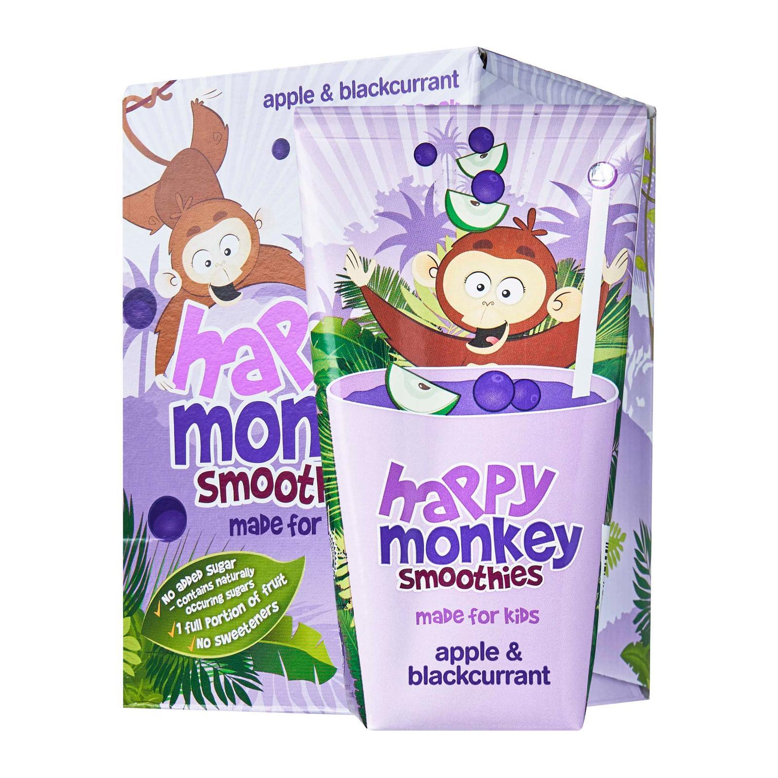 HAPPY MONKEY 100-Percent Fruit Smoothies - Made for Kids - Apple Blackcurrant x4
