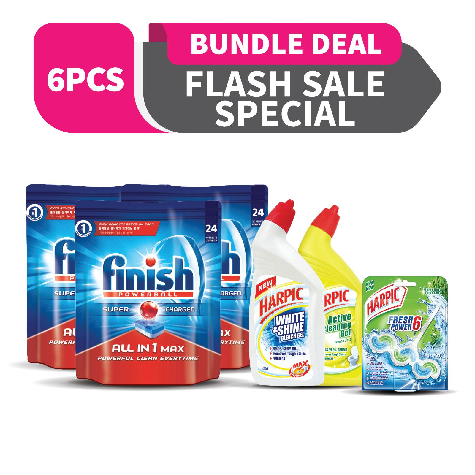 3x Finish All In One Max Super Charged Powerball Dishwasher Tablets 24 Tablets + Harpic Cleaning Set By Rb Home.