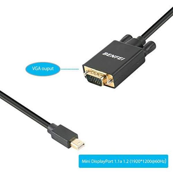 BENFEI Mini DisplayPort to VGA 6 Feet Cable, Mini Dp Display Port to VGA Cable Male to Male Gold-Plated Cord Compatible for MacBook, iMac(LG51) Surface Pro Dock