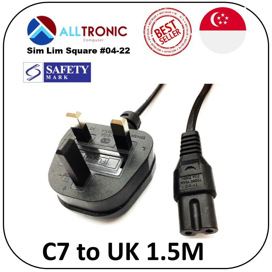 Power Cable C7 to UK 3pin 1.5Meter Figure 8 Power Cord with Safety Mark 3A 250v