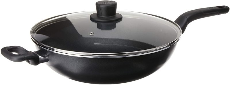 Tefal 32cm Cook Easy Chinese Asian Wok Frying Fry Pan with Glass Clear Lid Cover. Singapore