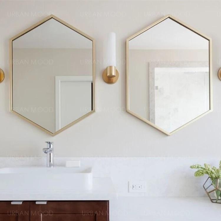 CORDELIA Vintage Hexagon Gold Wall Mirror
