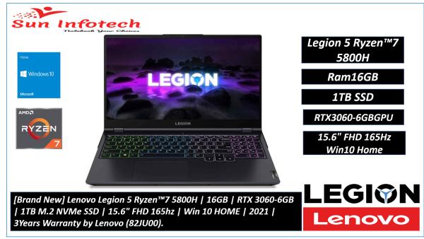 [Brand New] Lenovo Legion 5 Ryzen™7 5800H | 16GB | RTX 3060-6GB | 1TB M.2 NVMe SSD | 15.6 FHD 165hz | Win 10 HOME | 2021 | 3Years Warranty by Lenovo