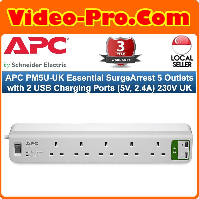 APC PM5U-UK Essential SurgeArrest 5 Outlets with 2 USB Charging Ports (5V, 2.4A) 230V UK