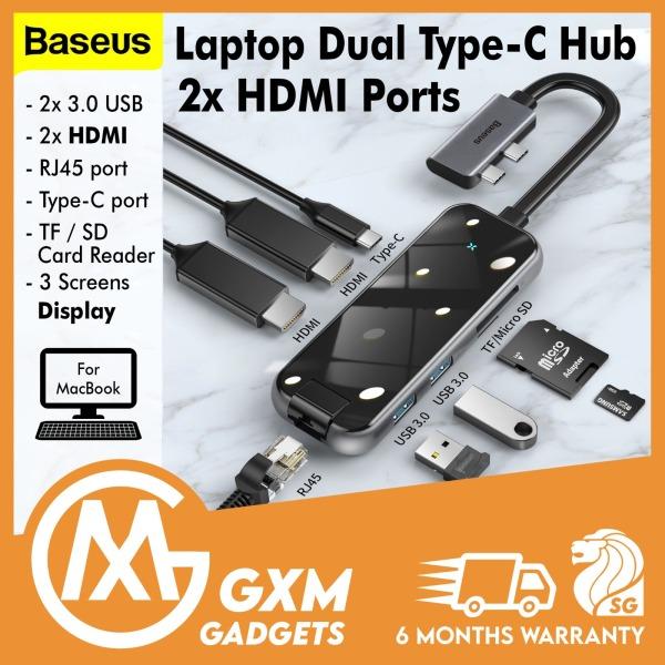 BASEUS Mirror Type-C HUB Adapter Multi-Screen Display 2*Type-C to HDMI*2+USB3.0*2+SD/TF*1+PD+RJ45 Macbook Laptop
