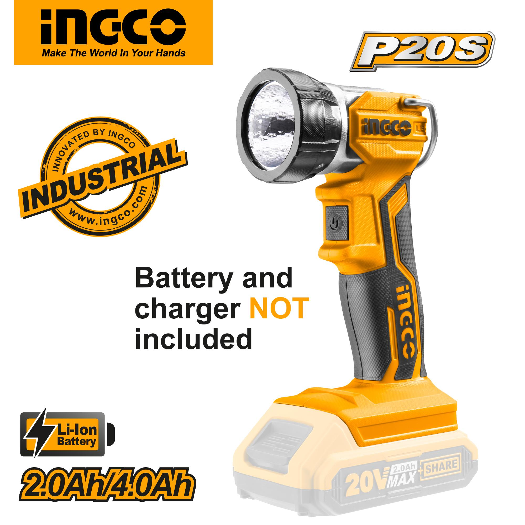 INGCO P20S Tools 20V Portable Lithium-Ion Work Lamp CWLI2001 (Body Only)