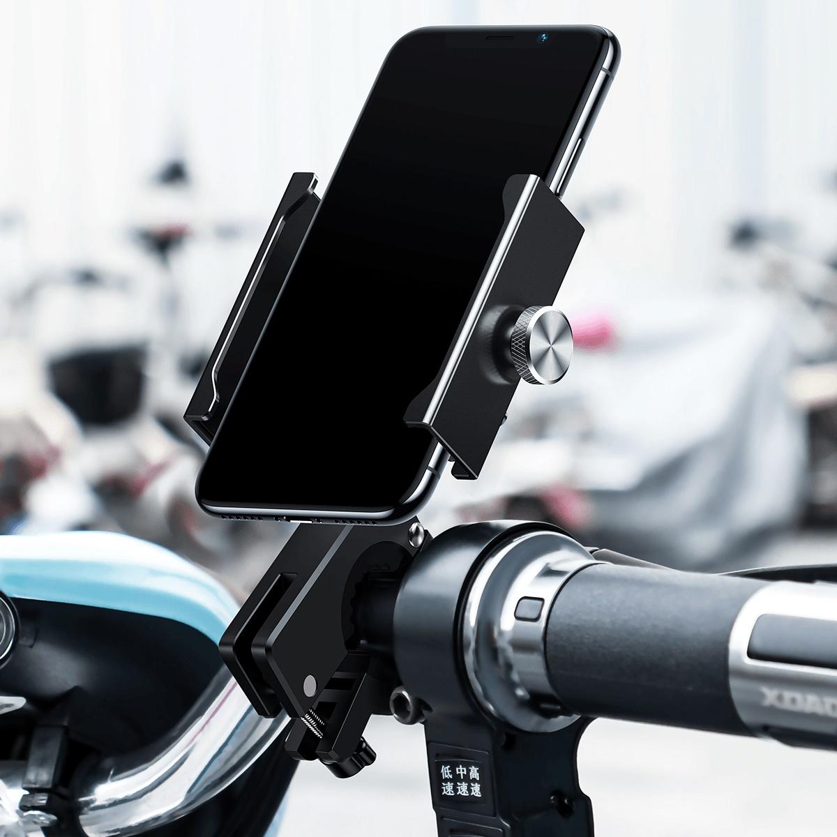 Baseus Motorcycle Bicycle Phone Holder For Iphone 11 Xiaomi Universal Bike Mobile Phone Stand Handlebar Clip Moto Mount Bracket.