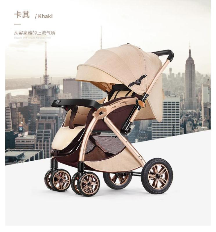 RC-Baby&kids 2018 Deluxe Model Gold Suspension Frame Two-Way Reversible Back Adjustable High Quality Six Wheels Design Portable Baby Carriage Stroller (Wine Red / Khaki) Singapore