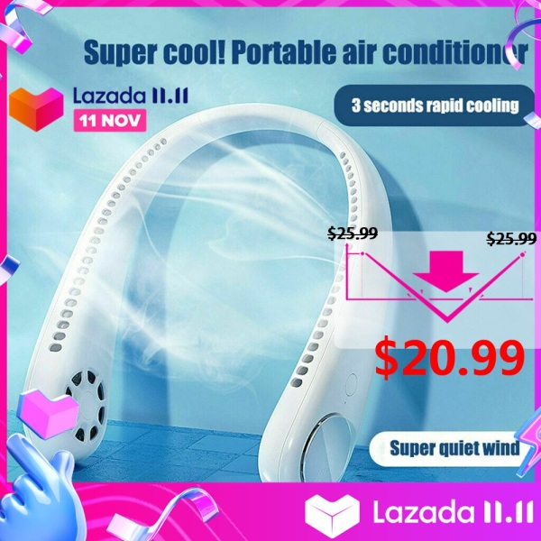 2020 Mini USB Portable Fan Neck With Rechargeable Battery Ultra quiet wind Wearable Fan handheld Air Cooler Conditioner for Room