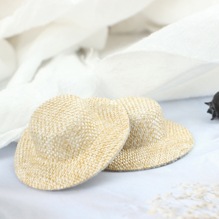 KINY 2 Chiếc Mũ Rơm Thu Nhỏ Cho Nhà Búp Bê, Mũ Búp Bê Mini, Nhà Búp Bê Đồ Trang Trí Dệt Tay thumbnail