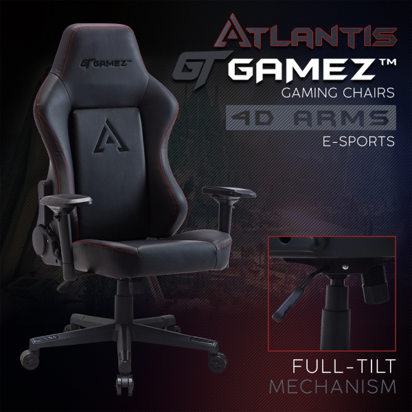 GTGAMEZ Atlantis Gaming Chair Racing Video Game Chair with Ergonomic Backrest and Seat Height Adjustment and  Recliner Swivel Rocker Headrest Tilt E-Sports