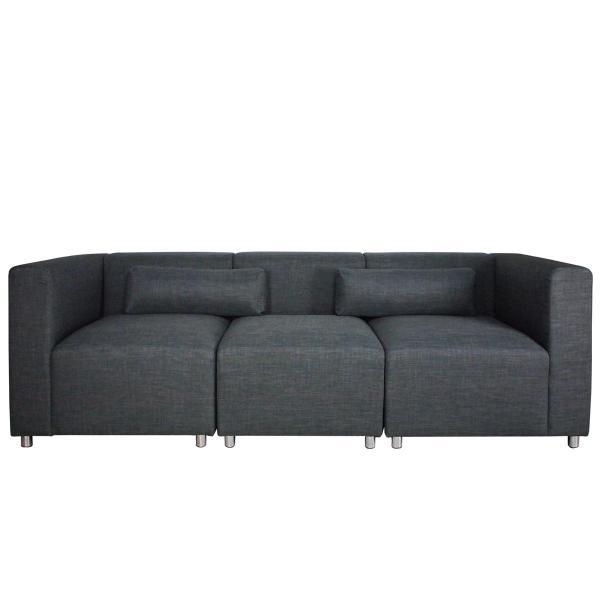 Houston Modular Sofa Grey 3 Seater for Living Room. High Quality Fabric Sofa