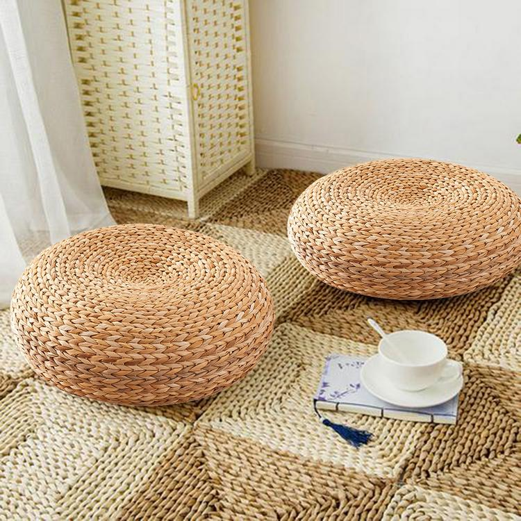 Handmade Straw Cushion Thickened Round Yoga Floor Mat for Meditation Rest