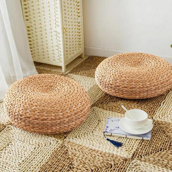 Handmade Straw Cushion Thickened Round Yoga Floor Mat for Meditation Rest