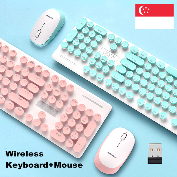 [SG Local]Wireless Keyboard Mouse Combo Vintage Gaming Keyboard Mouse Set with Round Key Button Noise Cancelling Office Mechanical Keyboard Mouse Compatible for Laptop Tablet PC
