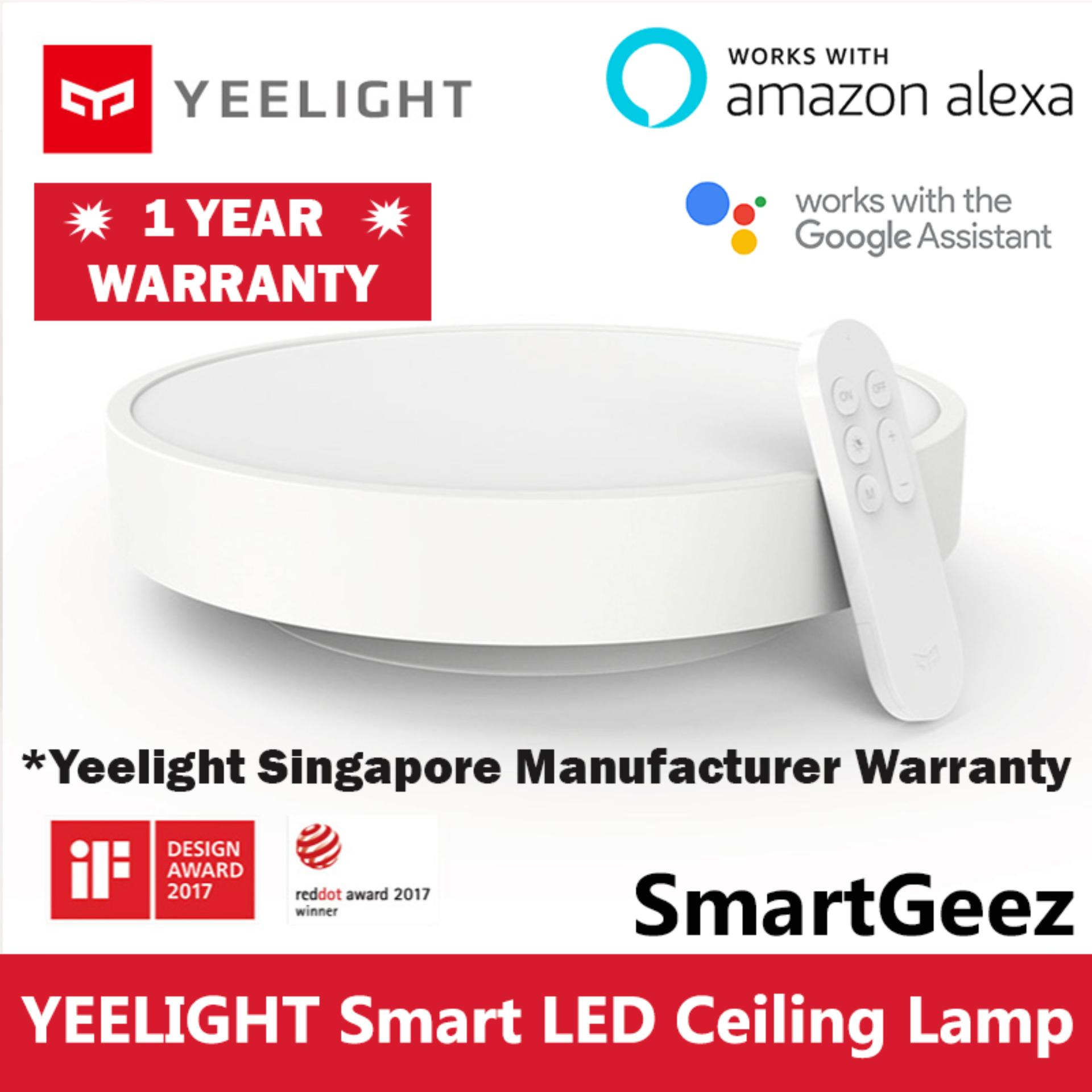 Yeelight Smart LED Ceiling Light Lamp (White) 28W Wifi / BLE 1800 Lumens - Remote Control Included - Xiaomi Mijia Smart Home Automation - (Works with Google Home Assistant Amazon Alexa Echo IFTTT) - Mi Home / Yeelight App - SmartGeez