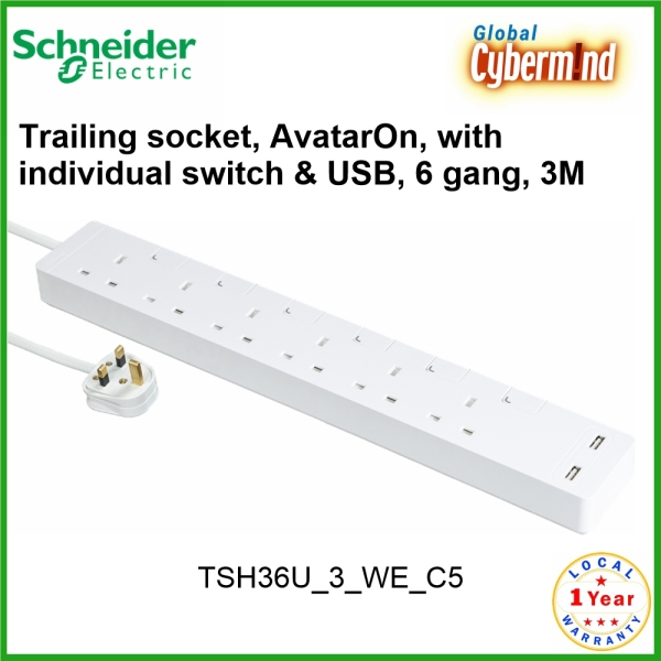 Schneider Electric 6G Trailing Extension socket, AvatarOn, with individual switch & 2G USB Charger Socket, 6 gang, 3M, white [TSH36U 3 WE C5] (Brought to you by Global Cybermind)