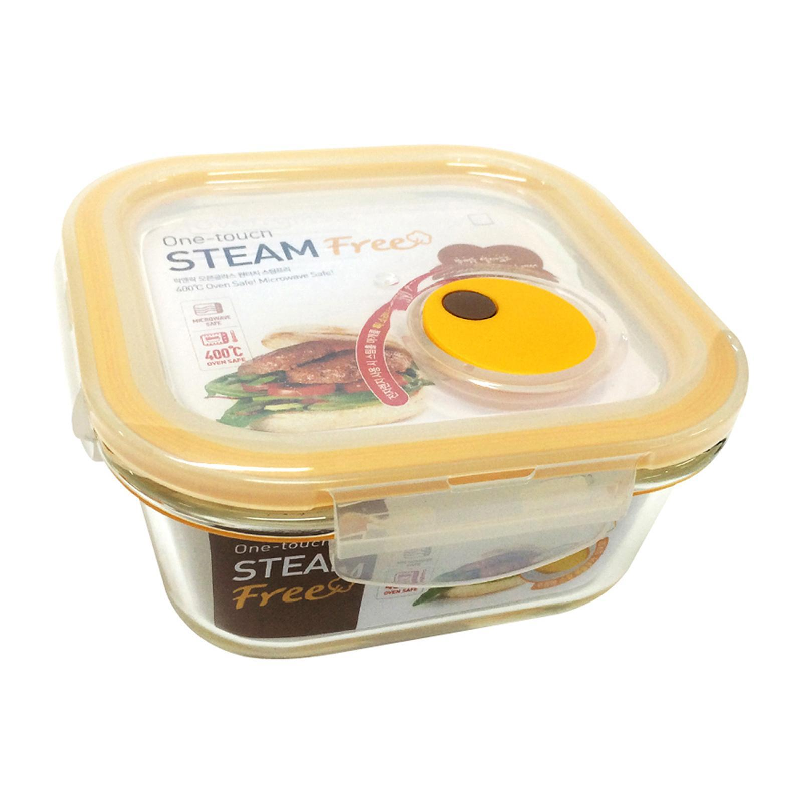 Lock and Lock Steam Hole Glass Container Square 500Ml