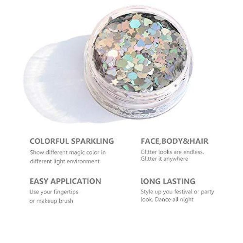 Buy Silver Holographic Face Glitter ✮ HITOP Body Glitter ✮ 20g Festival Chunky Glitter with Gel, Cosmetic Face Body Hair Nails (Silver & Purplish Blue) Singapore