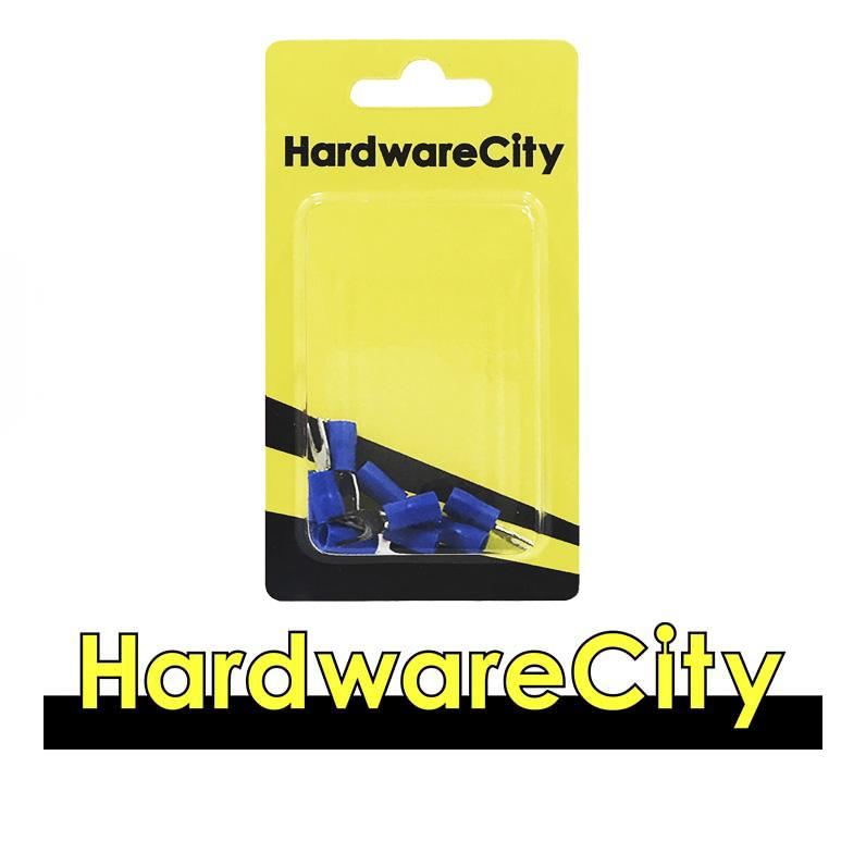 HardwareCity Insulated Crimp Fork Connector, Blue (16AWG - 14AWG), 10PC/Pack