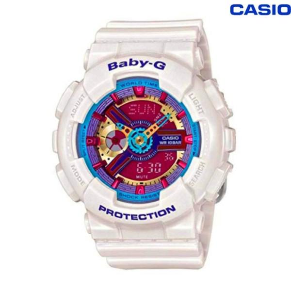 [In stock]Original BABY G Layered 3D Metallic Face Womens White Resin Strap Watch BA112-7A BA-112-7A (jam tangan wanita / casio watch / casio watch women) Malaysia