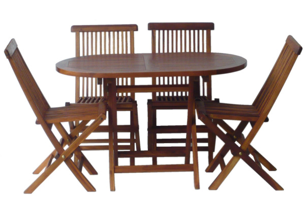 Outdoor Table Set. TEAK WOOD Oval Foldable Table + 4 Folding Chairs – Natural wood colour (Table: W120 x D70 x H75cm, Chair W48 x D60 x H89cm))
