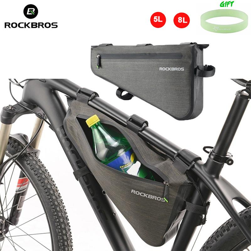 RockBros Full Waterproof Triangle Bag Frame Bag MTB Bicycle Top Tube 5L/8L Black Gold