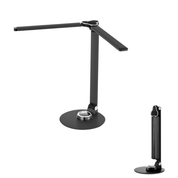 LED Desk Lamps, Double Arm Dimmable Foldable Eye-Caring Table Lamp USB Touch Control for Office Home Kid Piano Bedside Bedroom Living Room Study Reading Light Black Aluminum Fathers Day Gift