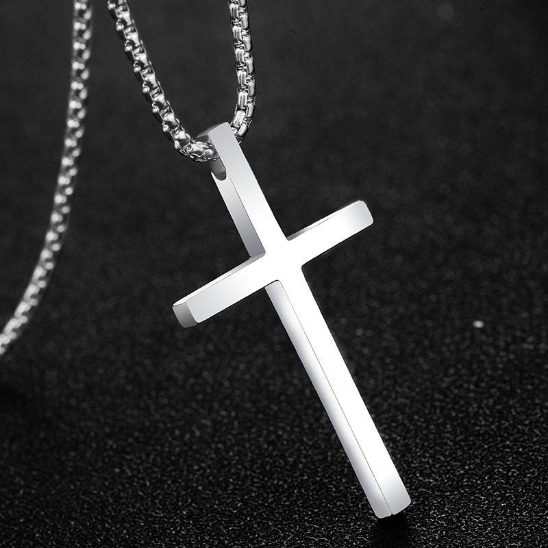 Kalung salib pria baja titanium Yesus Emanuel pasangan Liontin Ukiran Huruf murid Domineering Wanita Trendi Pria