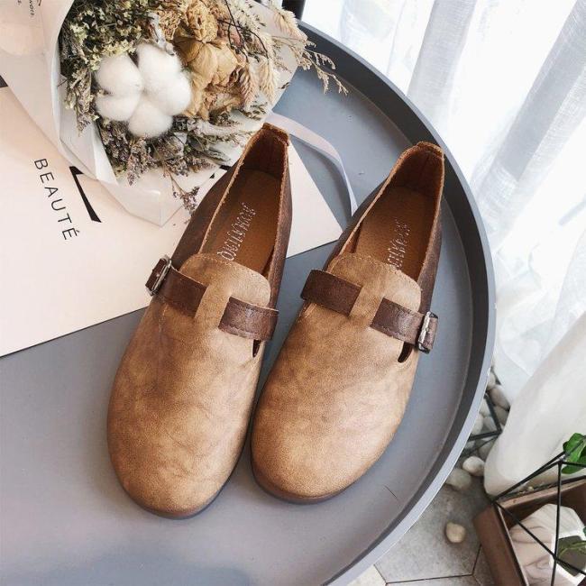 Mùa xuân và mùa thu mới nguyên bản retro nghệ thuật làm thủ công giày đơn Mori giày nữ đế mềm giày bệt tròn mũi giày da mềm phụ nữ giá rẻ