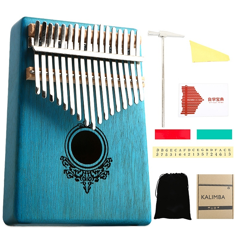 Kalimba Thumb Piano 17 Keys Mahogany Wooden with Hammer and Music Book for Music Lover Beginners Children Malaysia