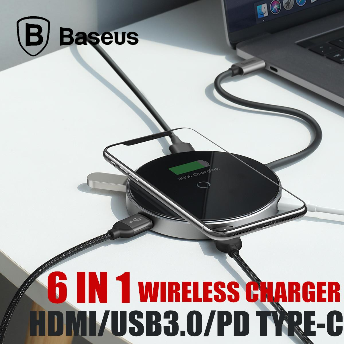 Baseus Circular Mirror Wireless Charger HDMI USB Type-C USB3.0 HUB Docking Station Macbook Huawei Lenovo Asus
