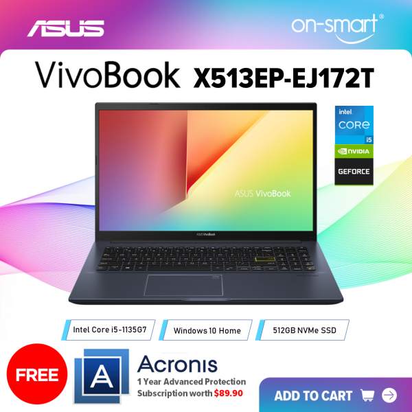 【Next Day Delivery】ASUS VivoBook 15 X513EP-EJ172T | Intel Core i5-1135G7 Processor | 8GB RAM | 512GB NVMe SSD | NVIDIA GeForce MX330 | Windows 10 Home | 1 Year International Warranty | FREE Acronis Subscription | OnSmart