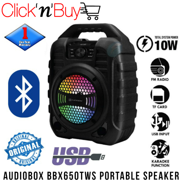Audiobox BBX650 TWS Portable Bluetooth Speaker. Rechargeable 1200 mAh Battery Capacity. USB Input. Memory Card (TF) Input. FM Radio. Karaoke Function. Microphone Input. Aux Input. Light Weight. 1 Year Warranty. Compact Size: 34(H) x 15(D) x 26(W) cm Singapore