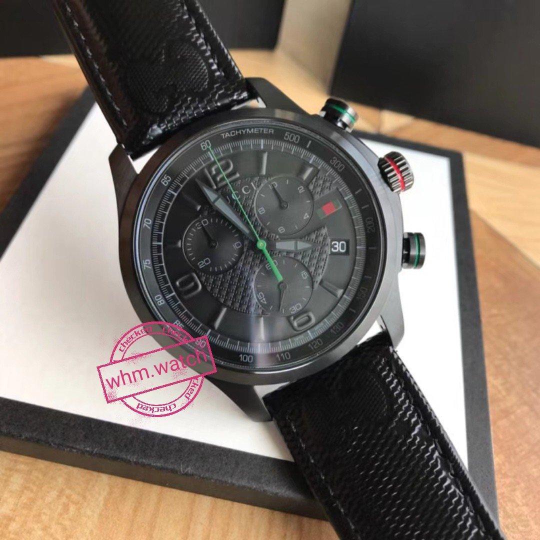 ff78efbed2f GUCCI G-Timeless Chronograph Black Dial Black Fabric Men s Watch YA126244